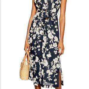 Topshop floral midi shirt dress